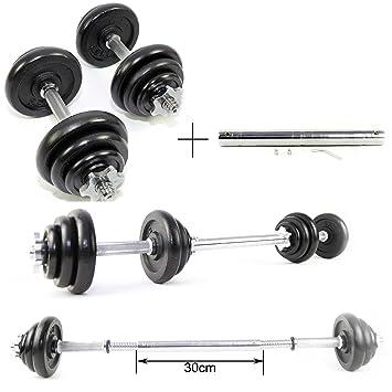 Set de mancuernas de levantamiento de hierro fundido 20 kg con conector de 30 cm: Amazon.es: Deportes y aire libre