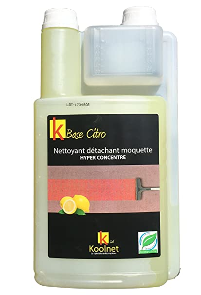 KOOLNET BASE CITRO-Limpiador de moqueta quitamanchas fragancia limón-Bidón de 1 L