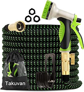 Takuvan Expandable Garden Hose 50ft - Water Hose with 9-Way Spray Nozzle - Durable 4-Layers Latex with 3/4