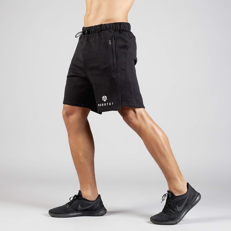 MOROTAI Neotech Sweatshorts Sporthose Kurz Herren Sportshorts Mit Elastischem Bund Und Rei/ßverschlusstaschen Pflegeleichte Shorts Gym