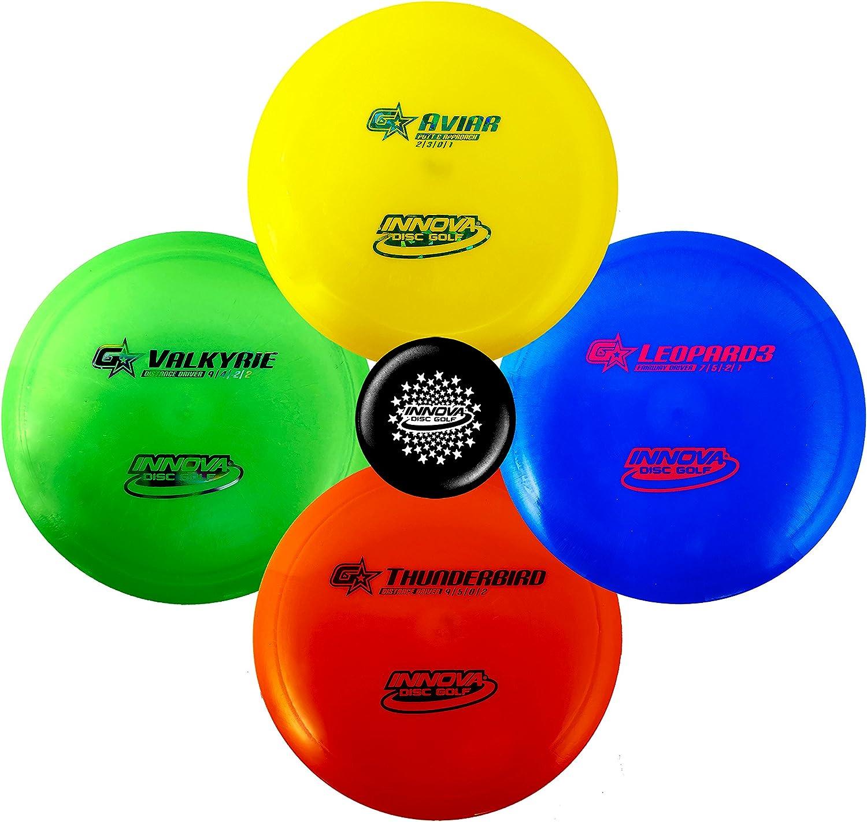 Innovaプレミアム初心者のディスクゴルフセット – Gstarパター、ミッドレンジ、ドライバ – 耐久性、柔軟性としなやかなplastic- Colors Will Vary – 150 – 169 g 4パック
