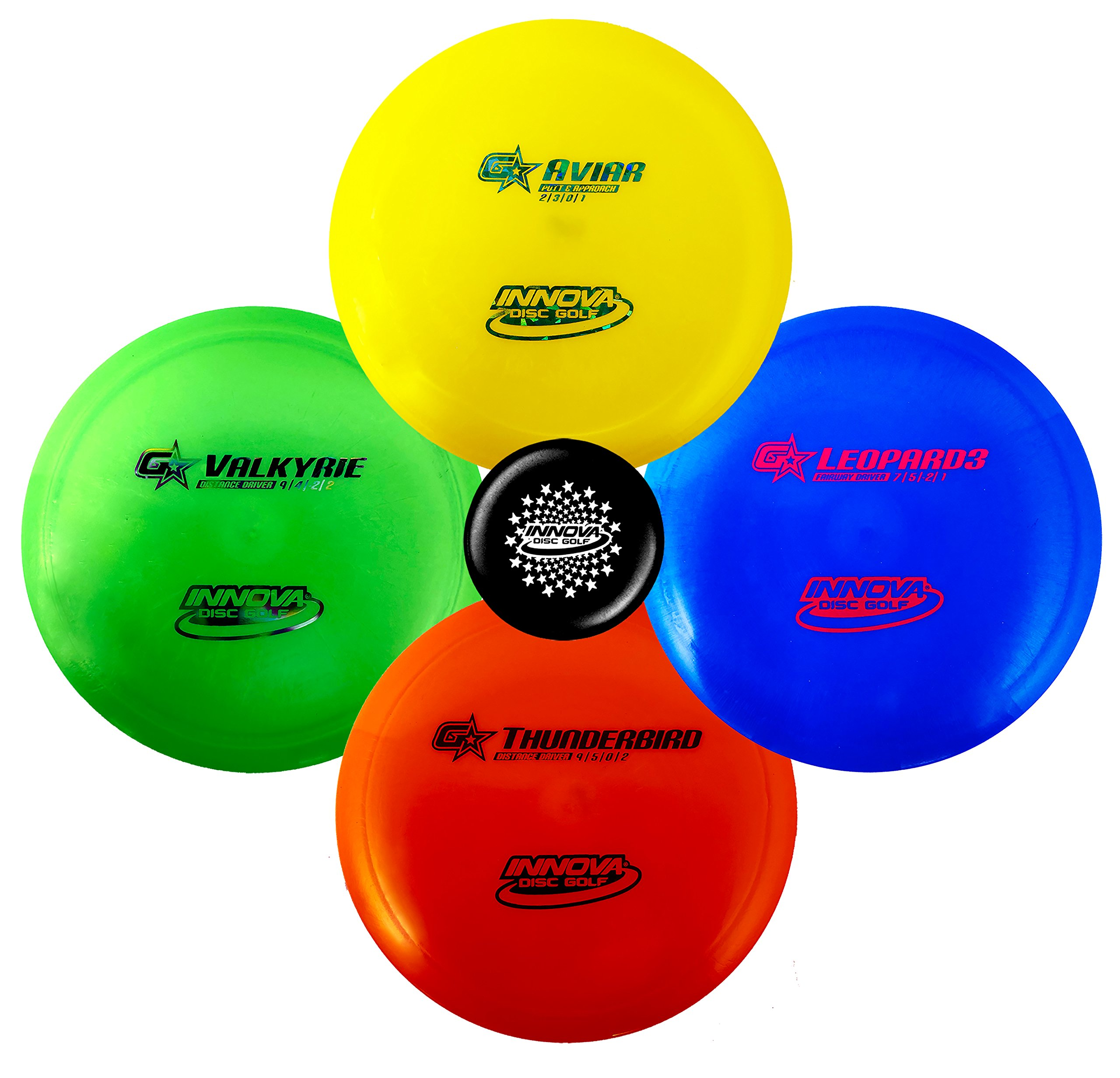 Innova Premium Beginner's Disc Golf Set - GStar Putter, Mid-Range, Driver - Durable, Flexible and Supple Plastic- Colors Will Vary - 150-169g (4 Pack) by Innova Discs