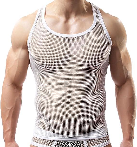 senza maniche Maglietta a rete da uomo