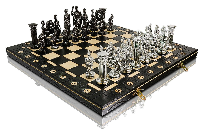 SILVER SPARTAN 40cm / 16in Metalizzed Kunststoff alte Rom Themed Zahlen auf Holz Schachbrett, Classic Game