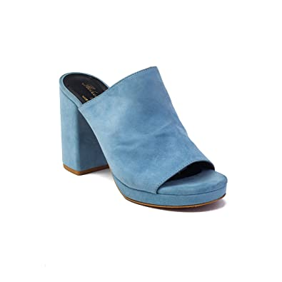df8979e1510 Image Unavailable. Image not available for. Color  Robert Clergerie Women s   Abrice  Suede Block Heel Mule Blue