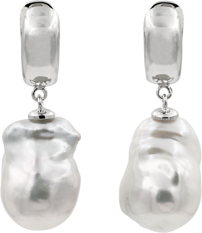 Pendientes de Mujer de Perlas Cultivadas de Agua Dulce Barrocas o Keshi Blancas Grandes XL de más de 14 mm SECRET & YOU - Plata de Ley de 925 milésimas Bañada en Oro de 18 k o en Rodio