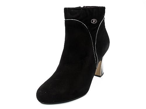 Botines mujer PITILLOS en ante color negro combinado vivos piel gris - 1557 - 558: Amazon.es: Zapatos y complementos
