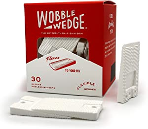 Wobble Wedges Flexible Plastic Shims - Multi-Purpose Wedges for Home Improvement and Workplace - The Ideal Table Shims, Toilet Shims, and Furniture Levelers - 30 White Wedges
