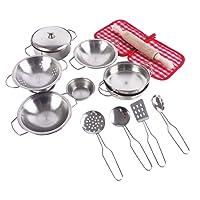 Pretend Toys - En acier inoxydable de chef, jouets de simulation de cuisine en acier inoxydable avec casseroles en acier inoxydable et casseroles, jouets de cuisine, jouets de cuisine (15 pièces)