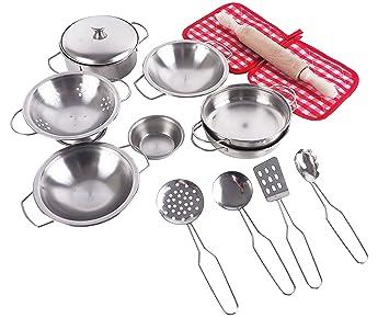Pretend Toys - Little Chef Stainless, Cocina Pretend Toys Stainless con ollas y sartenes de acero inoxidable Utensilios de cocina, Juguetes de cocina ...