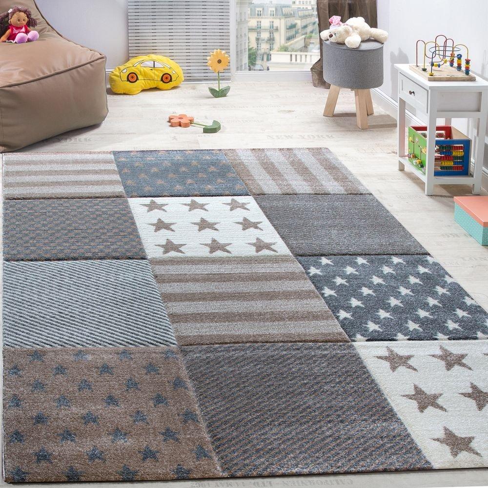 Paco Home Kinderteppich Sterne Muster Kurzflor Konturenschnitt Karo Design Beige Creme, Grösse 200x290 cm
