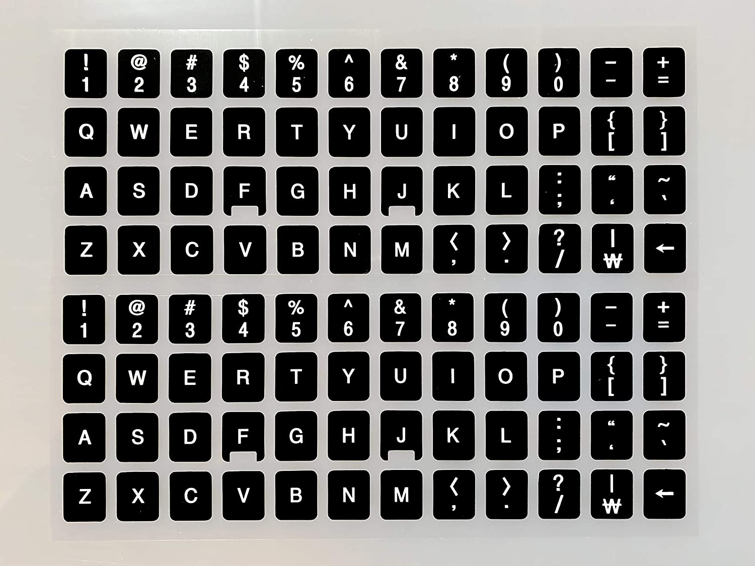 [2 Packs] Replacement English Keyboard Stickers on Non Transparent Black Background for Any PC and Laptop (ENG)
