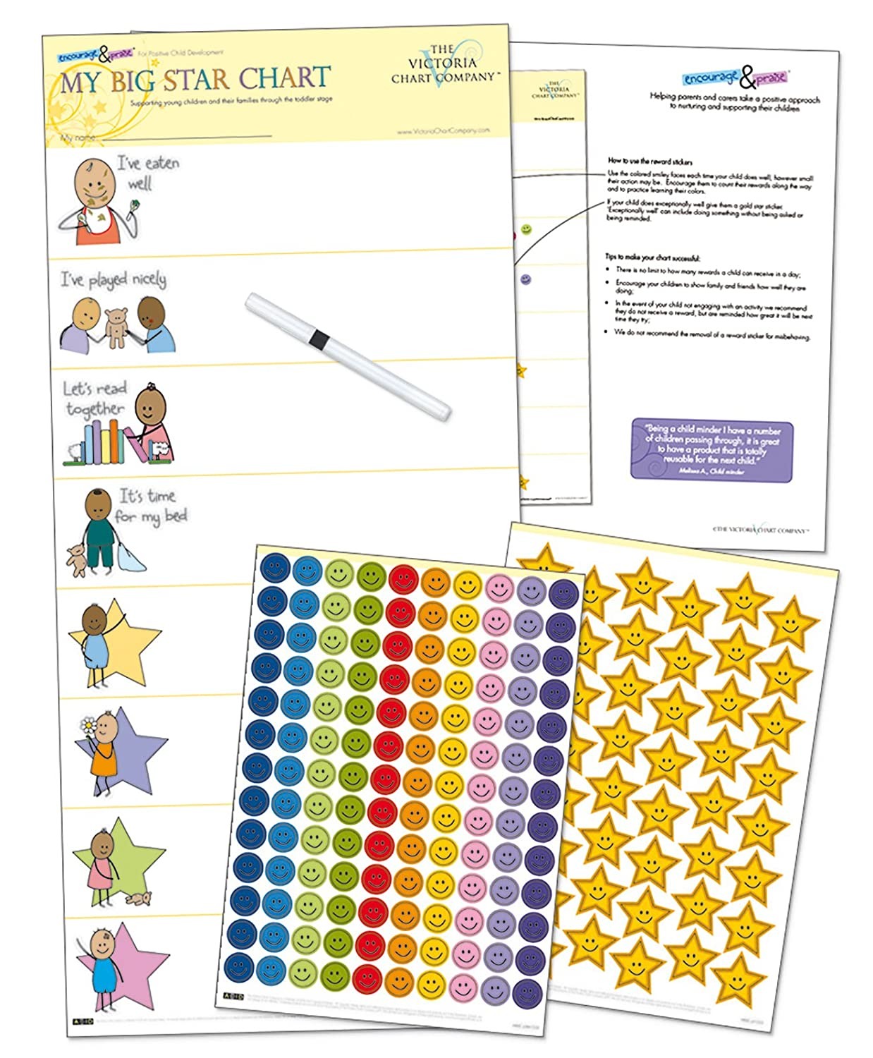 Children's Reward Chart – My Big Star Reward Chart 1yr + Manage Difficult Toddlers Verhaltensweisen with Positive Reinforcement