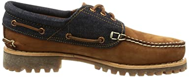 3-Eye Classic White Oak Denim Lug Shoes: A1FJQ Saddle Nubuck / Raw White Oak Denim
