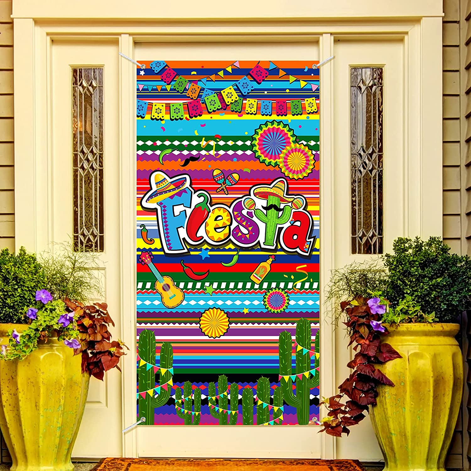 Fiesta Door Cover Mexican Cinco de Mayo Wall Hanging Decor Colorful Stripes Flags Cactus Banner Mexican Birthday Party Decorations Festival Carnival Party Supplies Front Door or Indoor Home Decor