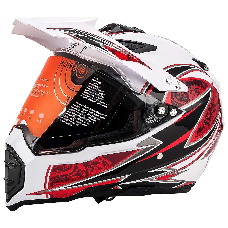 MOTORFANSCLUB Casco da Motocross per Fuori-Strada Moto Casco Cross Country D O L Giallo T Certificazione Endurance Race ATV ATV Casco