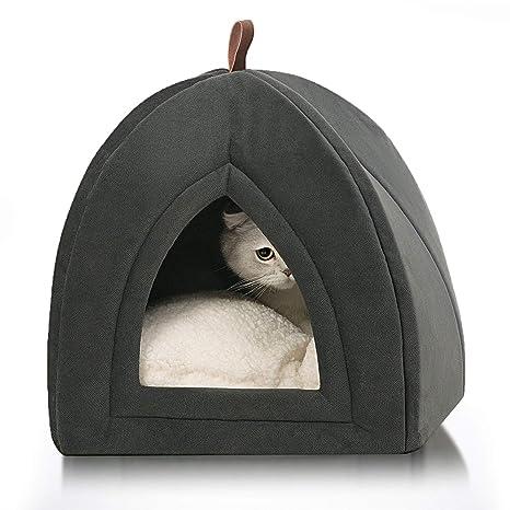 Bedsure Cama/Cueva Gato con Cojín Desenfundable Lavable - Casa para Gatos Antideslizante - Camas para Perros Pequeños 38x38x38cm