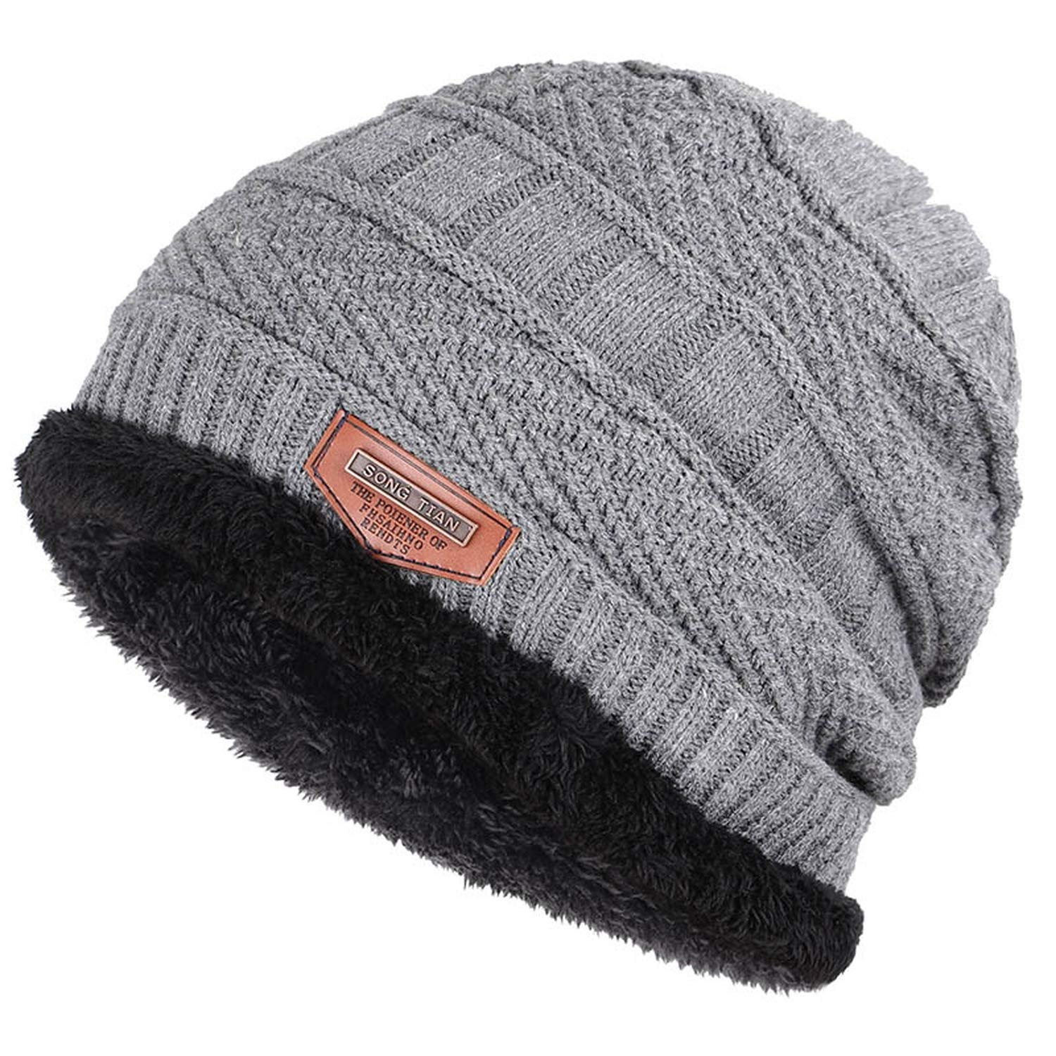WinterNew Knitted Mens Hats Plus Velvet Thickening Outdoor Warm and Comfortable caps Leather Label Male