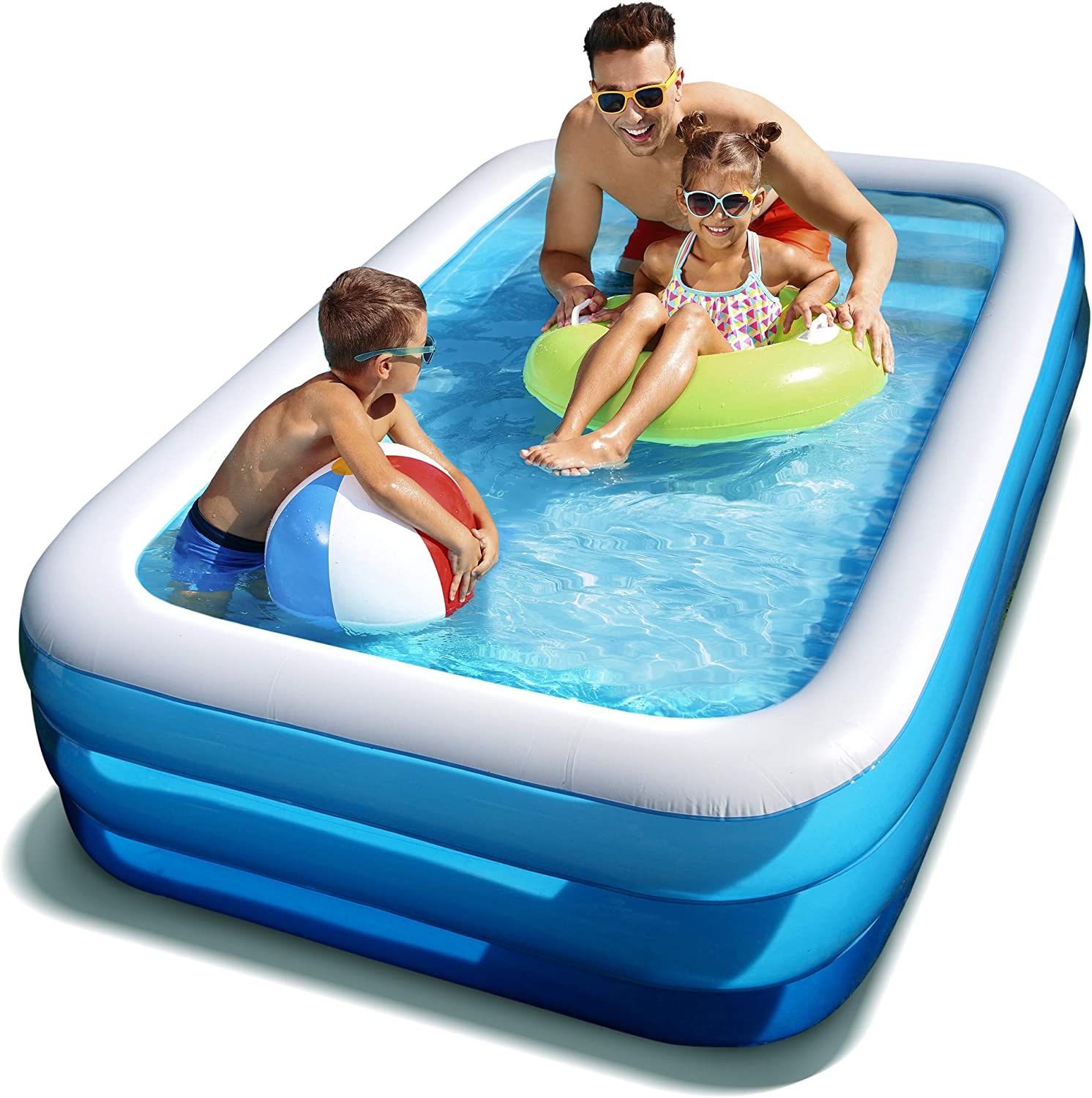 Large 10 Ft Inflatable Swimming Pool For Whole Family Easy To Set Up Maintain Pool For Backyards 120x73x22 Inch Outdoor Rectangular Pool For Adults Kids
