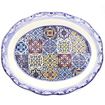Amazon.com | Large Hand-painted Traditional Portuguese Ceramic Wall ...