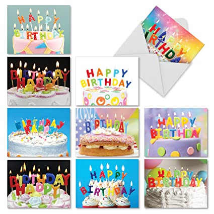 10 Birthday Blowouts Cake Note Cards With Envelopes