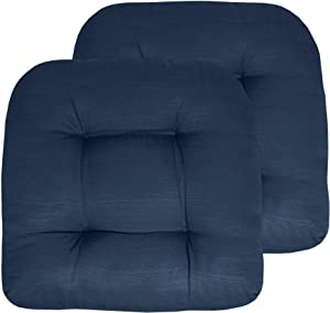 """Sweet Home Collection Patio Cushions Outdoor Chair Pads Premium Comfortable Thick Fiber Fill Tufted 19"""" x 19"""" Seat Cover, 2 Pack, Navy Blue"""