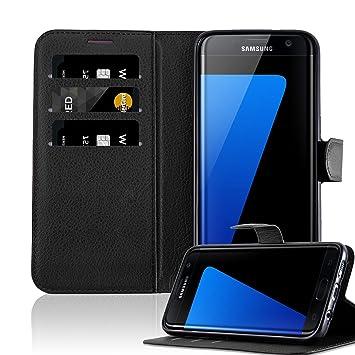 Cadorabo Funda Libro para Samsung Galaxy S7 Edge en Negro Fantasma – Cubierta Proteccíon con Cierre Magnético, Tarjetero y Función de Suporte – Etui ...