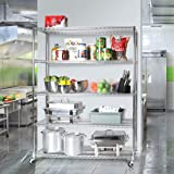 """Seville Classics UltraDurable Commercial-Grade 5-Tier NSF-Certified Wire Shelving with Wheels, 60"""" W x 18"""" D, Plated Steel"""