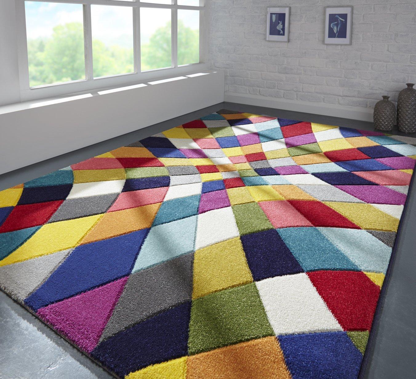 Rugs With Flair Spectrum Rhumba - Tapis de créateur/Tapis Moderne - Motif Abstrait - Multicolore 80 x 150cm