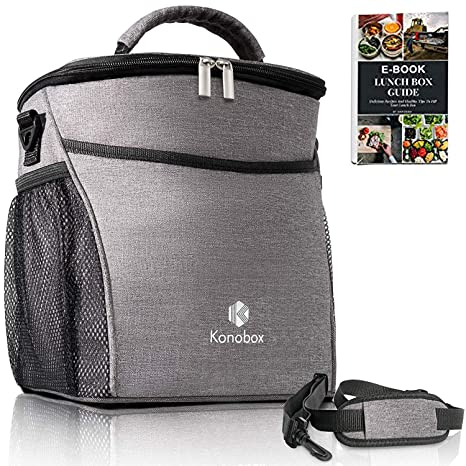 fd85db29272a Konobox Insulated Big Lunch Bag - Leakproof Tote For Women and For Men -  Includes a E-book - Grey Lonchera (Gray)
