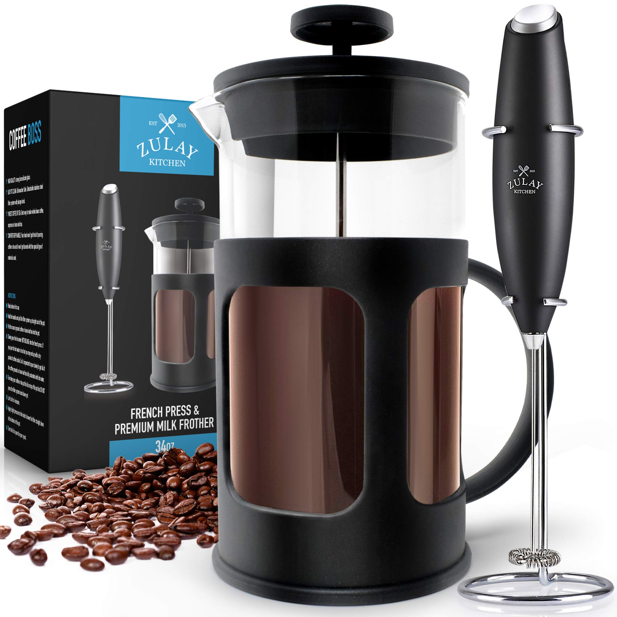 Zulay Premium French Press Coffee Pot and Milk Frother Set - (8 Cups, 34 oz) Coffee Press Glass Carafe with Powerful Double-Mesh Stainless Steel Filter System for Filtering Out Fine Coffee Grounds by Zulay Kitchen