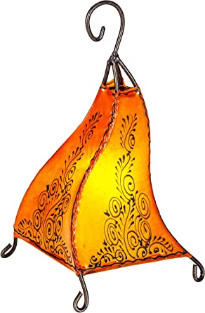 Lampe de table de chevet marocaine Rahaf 35cm   Abat jour marocain oriental en cuir et henné   petite lampadaire sur pied orientale du Maroc comme
