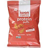 Iwon Nutrition Iwon Organics Red Pepper Flavor Protein Puff, High Protein and Organic, 8 Bags, 42 Gram