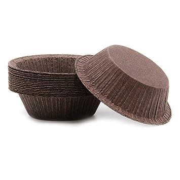 Único poción para magdalenas tazas de pie buena para cupcakes, quiche o Strange maíz magdalenas, color marrón: Amazon.es: Hogar