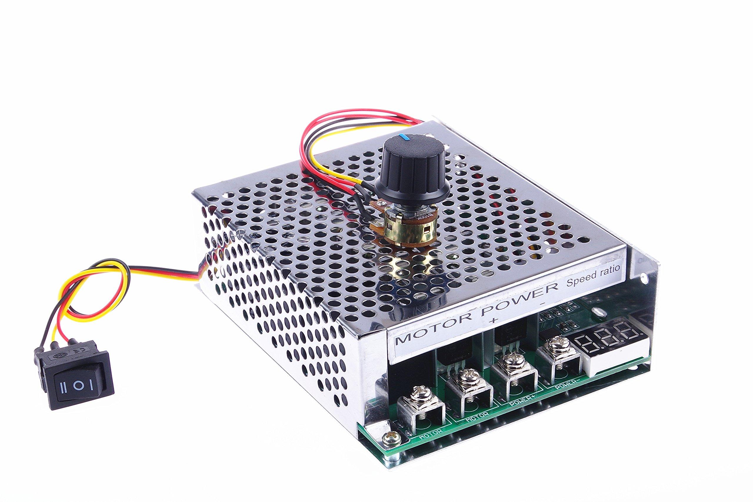 KNACRO PWM DC motor driver 60A DC 12V/24V/36V/48V 10-50V Forward Reverse switch Tachometer brush motor inverted module Metal protective housing Maximum power 3000W