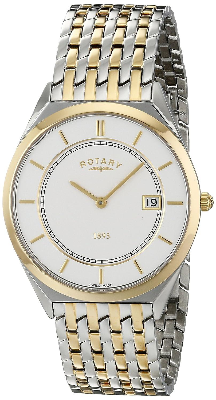 Rotary GB08001/02 - Reloj analógico de Cuarzo para Hombre con Correa de Acero Inoxidable, Color