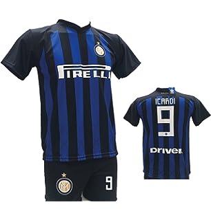 online store 38ae0 756af Completo Calcio Maglia Icardi Inter + Pantaloncino con Numero 9 Stampato  Replica Autorizzata 2018-2019