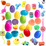 48 Toy Filled Easter Eggs In Assorted Colors - Ready To Hide and Hunt - Save Time With These Reusable Pre-Filled Eggs - Perfect As Easter Basket Fillers, Kids Party Favors, and Easter Egg Stuffers