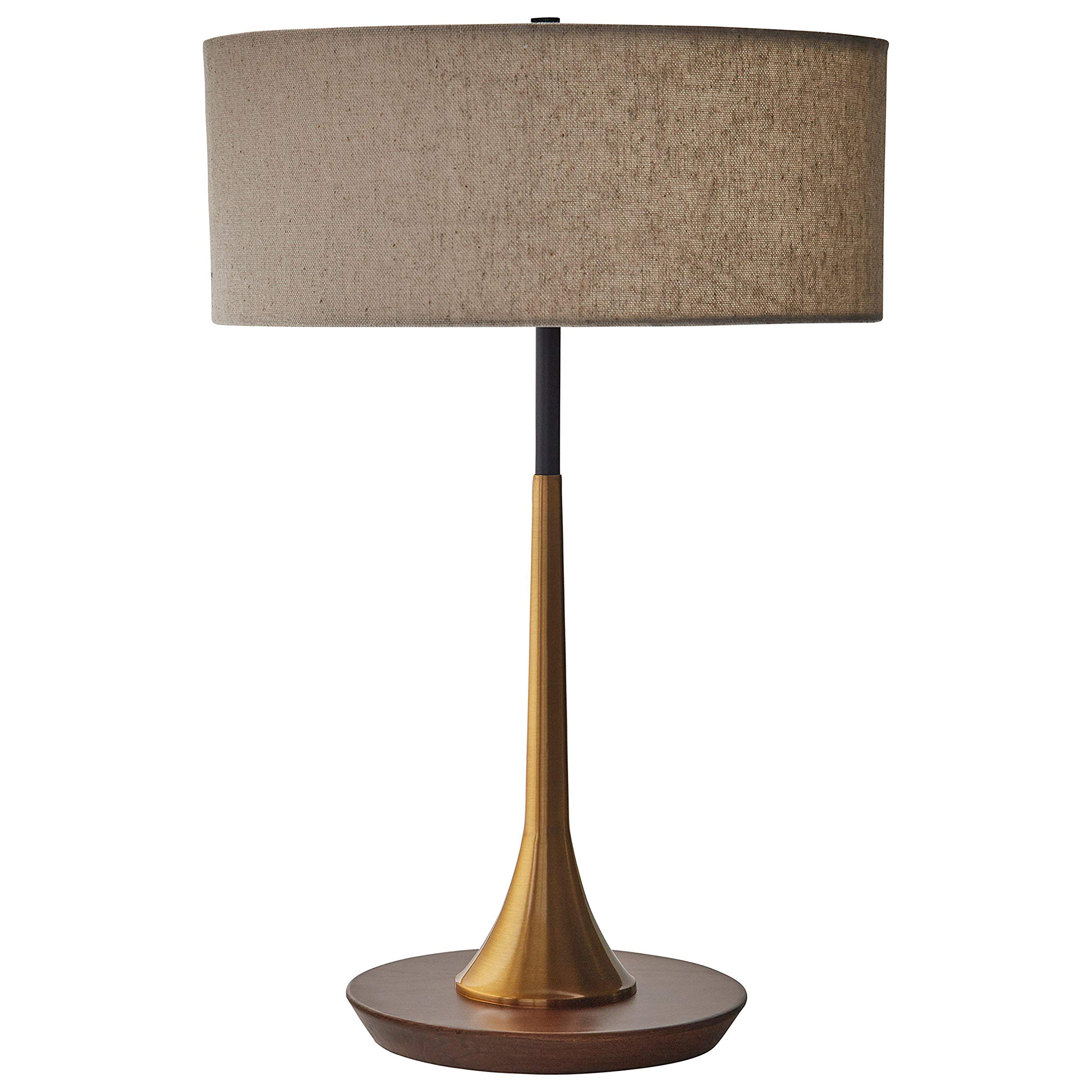Rivet Mid-Century Modern Curved Brass Table Desk Lamp With LED Light Bulb - 14.3 x 21.7 Inches, Brass and Walnut