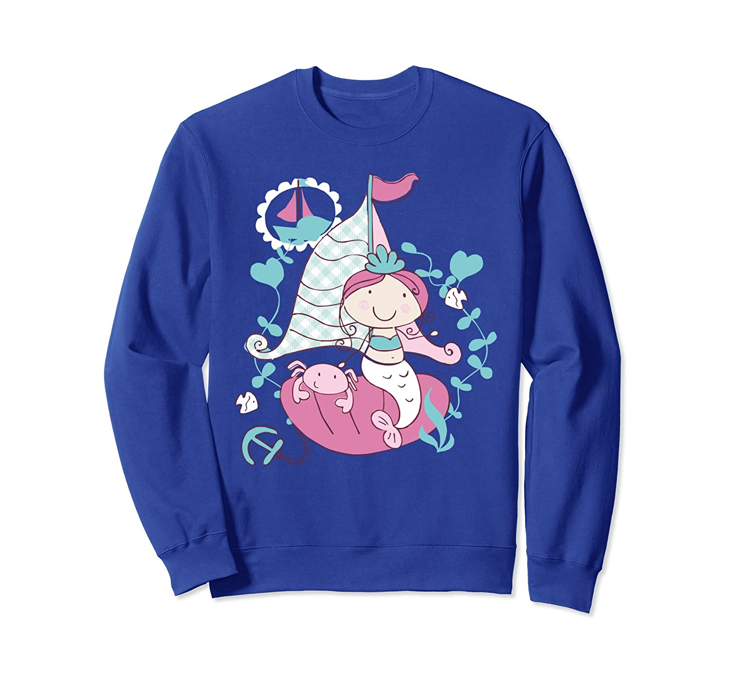 Lovely Mermaid Sailing Boat Adventure Long Sleeve Sweater-AZP