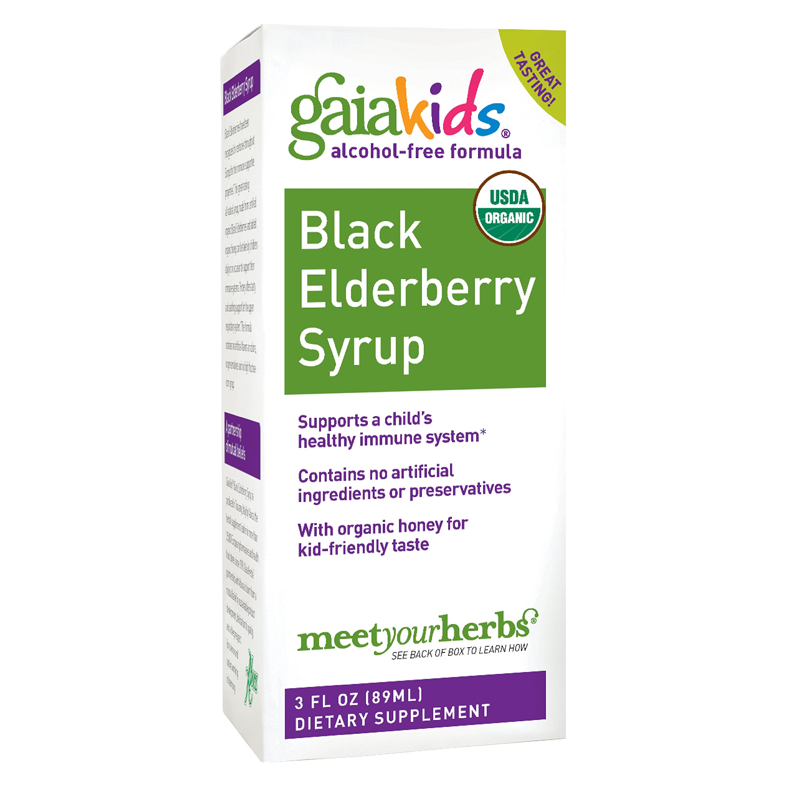 Gaia Herbs GaiaKids Black Elderberry Syrup, 3 Ounce - Daily Sambucus Black Elderberry Immune Support for Kids, Organic Whole Food Formula