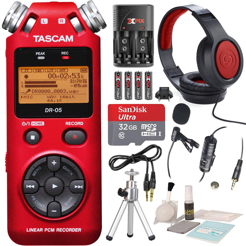 Tascam DR-05 (Version 2) Portable Handheld Digital Audio Recorder (Red) with Platnium accessory bundle
