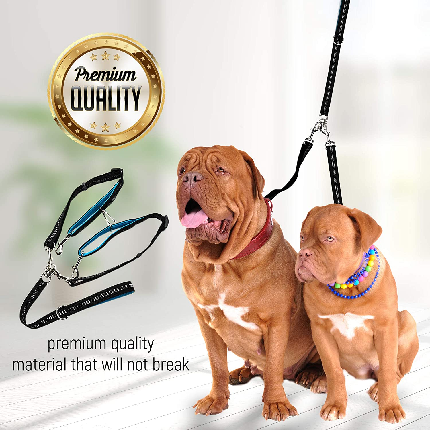 Amazon.com : 2 Dog Leash Tangle-Free Dual Dog Leash - Double Leash for Big and Small Dogs - Neoprene Padded Handles for Extra Comfort - Seatbelt Hooks ...