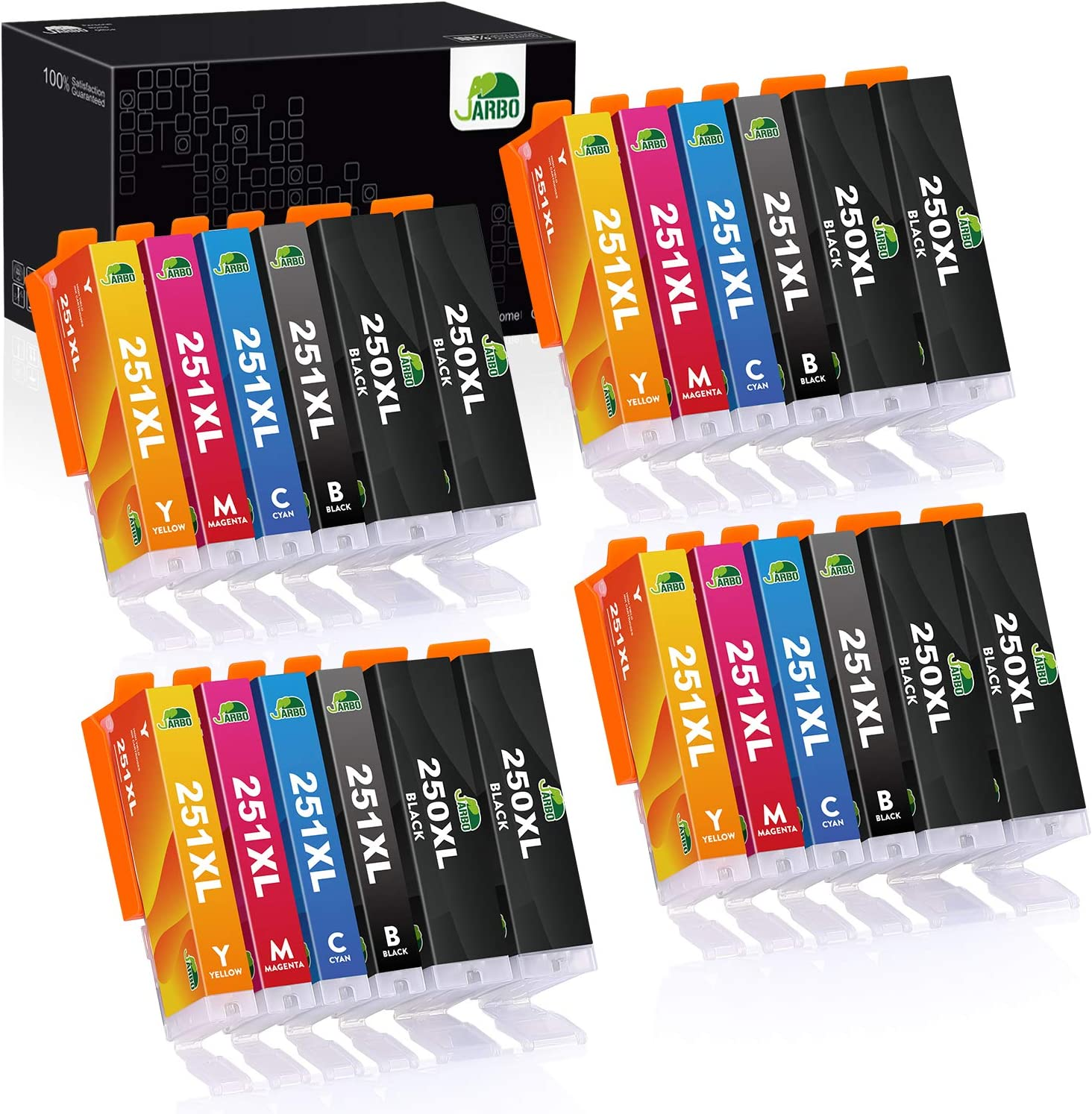 JARBO Compatible Ink Cartridge Replacement for Canon PGI-250XL CLI-251XL, 24 Packs, Use with Canon PIXMA MX922 MX722 MG5420 MG5520 MG5620 MG6620 IP7220 IX6820 Printer