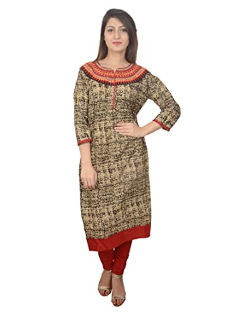 a33ad20e23 Women Kurti New Bodhi-Leaf Cotton Straight Abstract & Floral printed  stitched kurti Brown Black