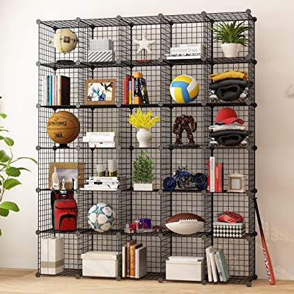KOUSI Storage Cubes Wire Grid Modular Metal Cubbies Organizer Bookcases And  Book Shelves Origami MultiFuncation Shelving