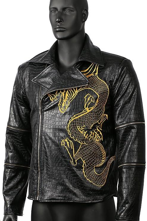 Hombres chaqueta Cosplay adulto negro PU cocodrilo patrón ...