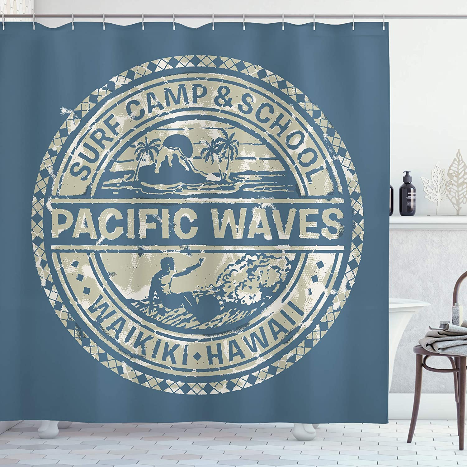 Ambesonne Modern Shower Curtain, Pacific Waves Surf Camp and Hawaii Logo Motif Effects Design, Cloth Fabric Bathroom Decor Set with Hooks, 70