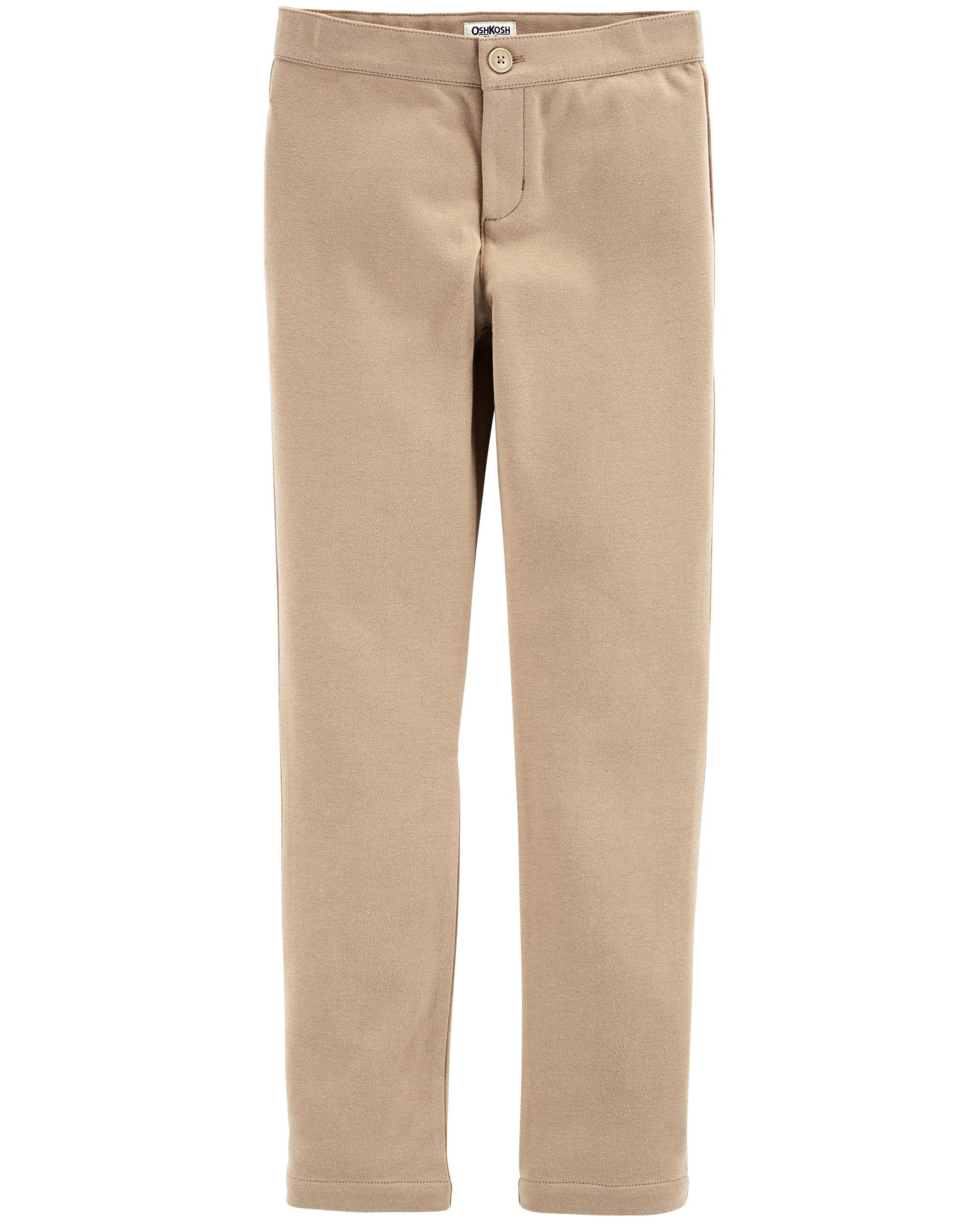 Osh Kosh Girls' Toddler Uniform Ponte Pant, Khaki, 4T