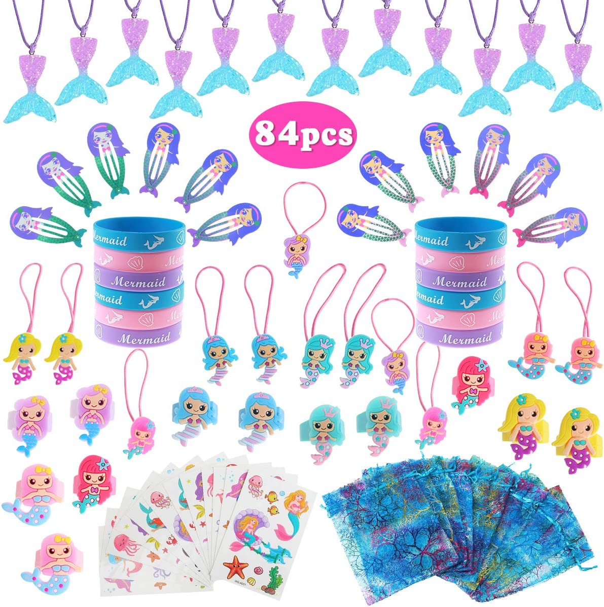 10 Mermaid Star Necklaces Party Favors.